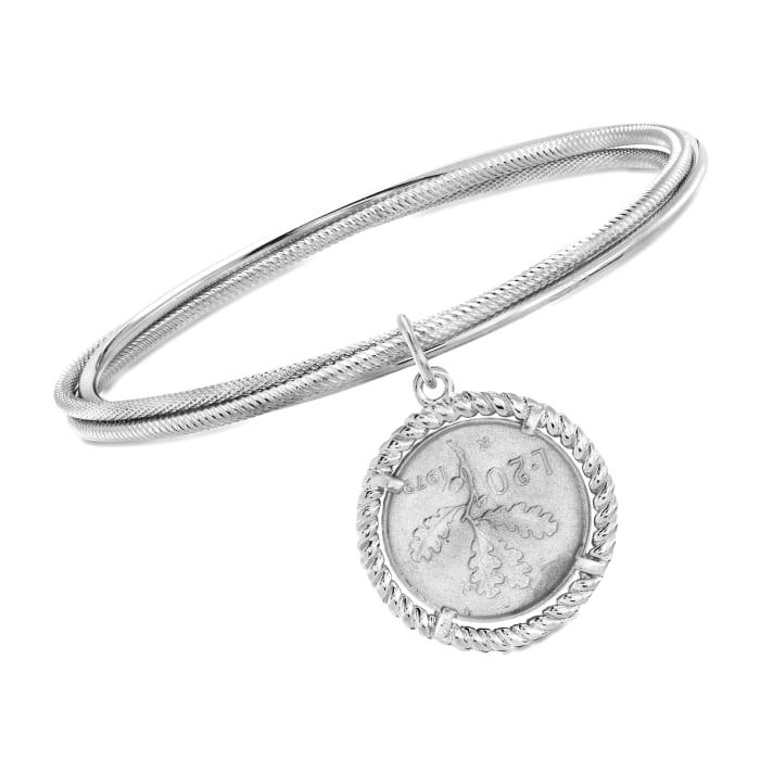 Italian Sterling Silver Lira Coin Triple Bangle Bracelet