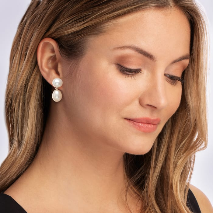 10-11.5mm Cultured Pearl Drop Earrings in 14kt Yellow Gold
