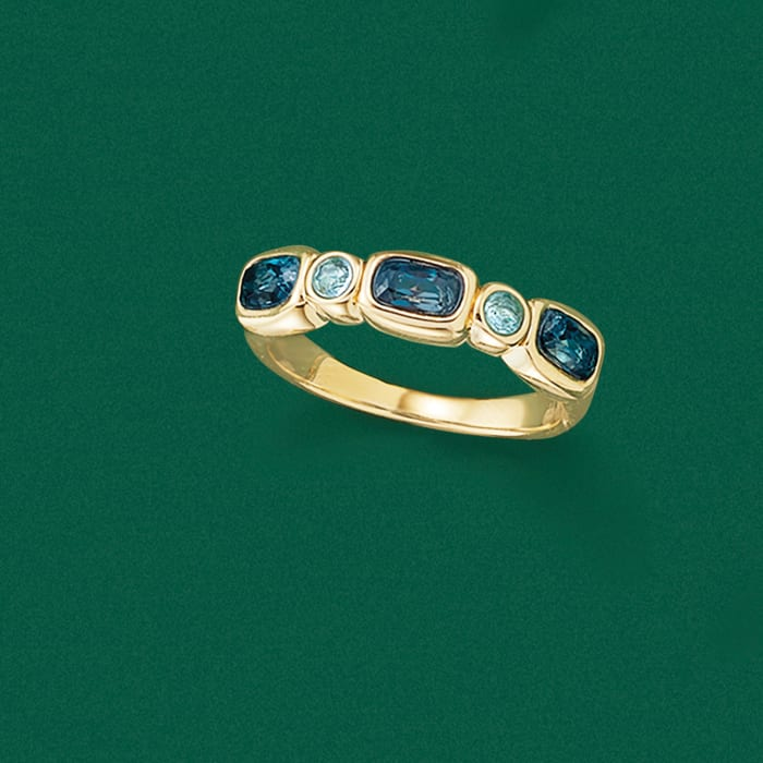 .90 ct. t.w. London and Sky Blue Topaz Ring in 14kt Yellow Gold