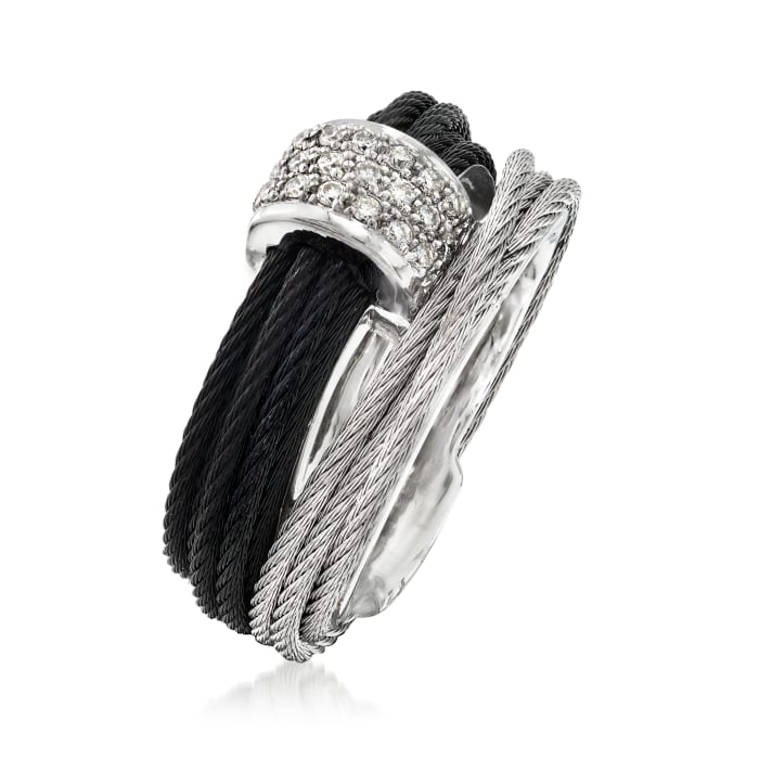 "ALOR ""Noir"" .16 ct. t.w. Diamond Two-Tone Stainless Steel Cable Ring with 18kt White Gold"
