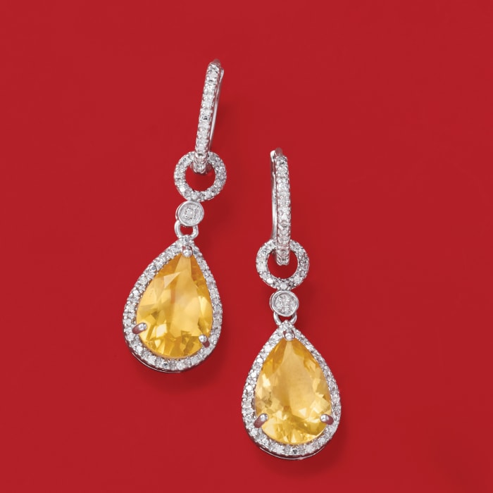 6.00 ct. t.w. Citrine and .13 ct. t.w. Diamond Drop Earrings in Sterling Silver
