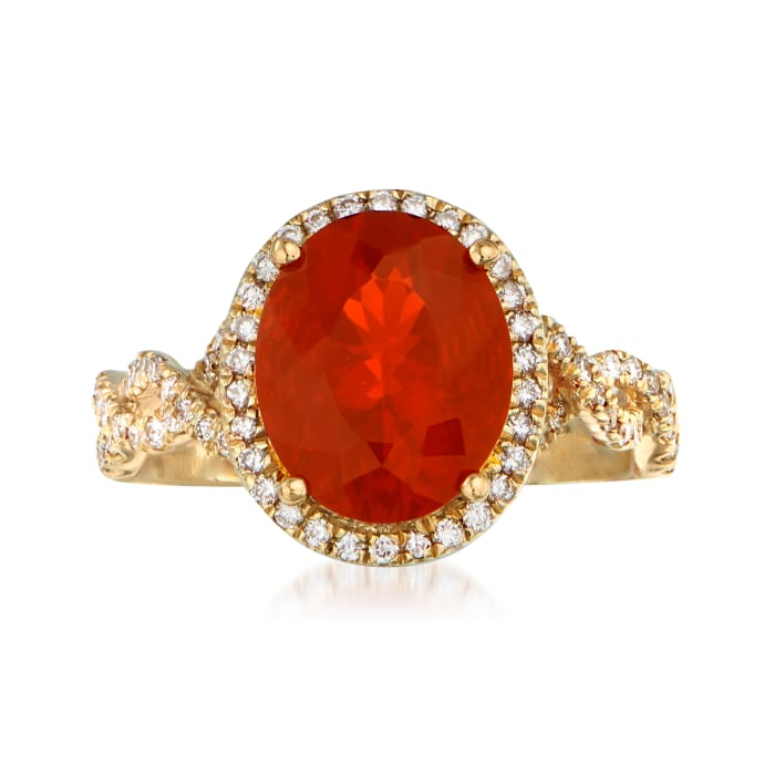 Fire Opal and .36 ct. t.w. Diamond Ring in 14kt Yellow Gold
