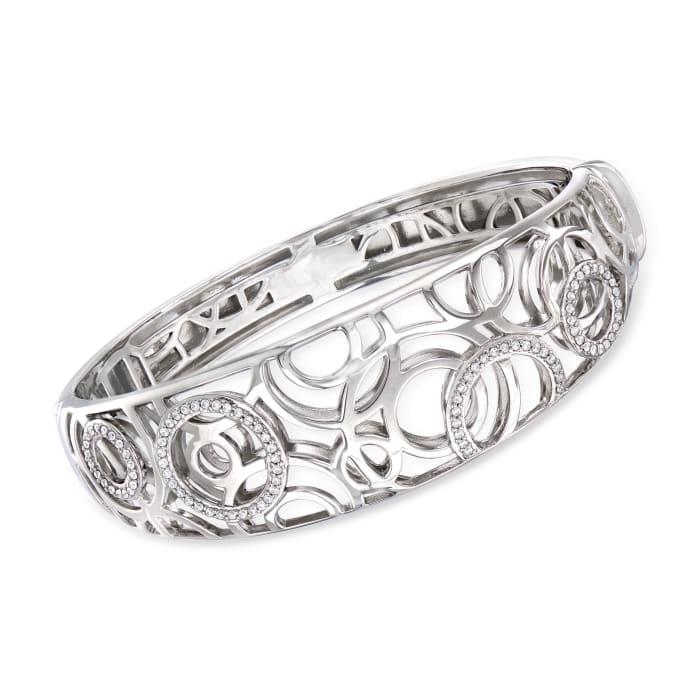 """Belle Etoile """"Celestia"""" .48 ct. t.w. CZ Bangle Bracelet in Sterling Silver"""