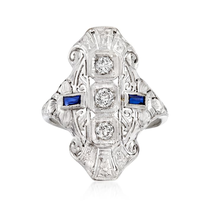 C. 1990 Vintage .23 ct. t.w. Diamond and .18 ct. t.w. Synthetic Sapphire Dinner Ring in 18kt White Gold