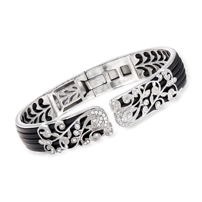 """Belle Etoile """"Andante"""" Black Rubber and .42 ct. t.w. CZ Bangle Bracelet in Sterling Silver"""