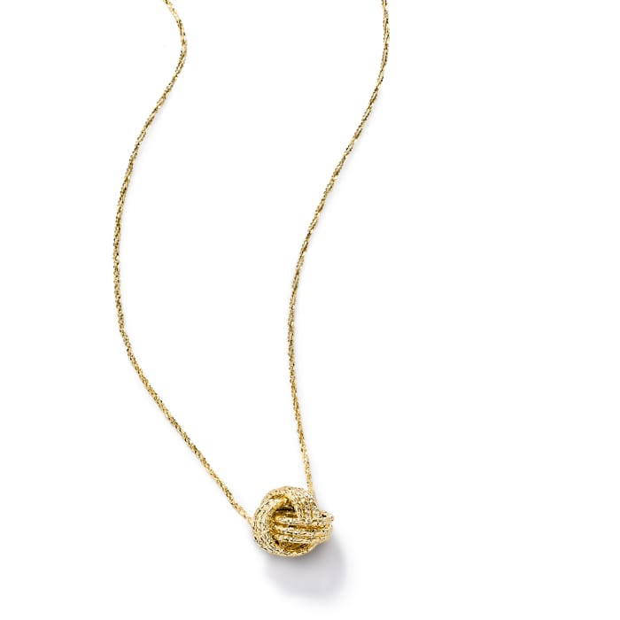 Italian 14kt Yellow Gold Textured Love Knot Necklace