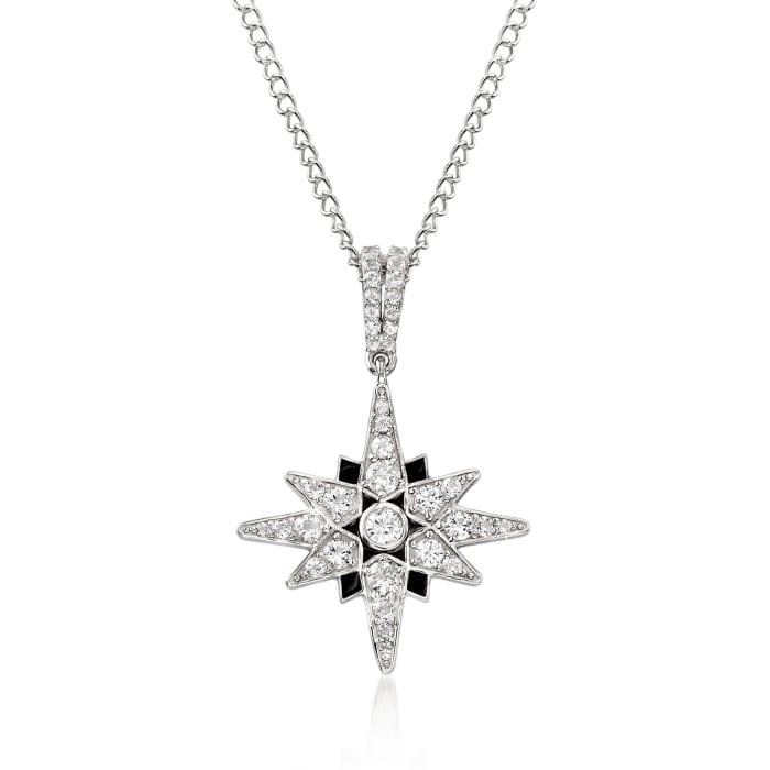 1.40 ct. t.w. White Topaz and Black Enamel Starburst Pendant Necklace