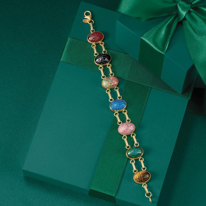 Multi-Stone Scarab Bracelet in 14kt Yellow Gold