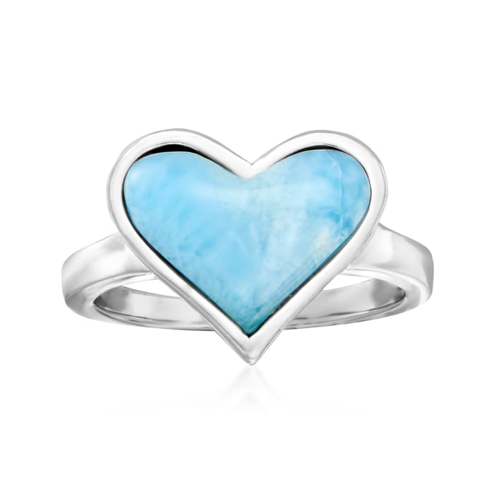 Larimar Heart Ring in Sterling Silver