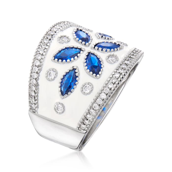 .60 ct. t.w. Simulated Sapphire and .30 ct. t.w. CZ Ring with White Enamel in Sterling Silver