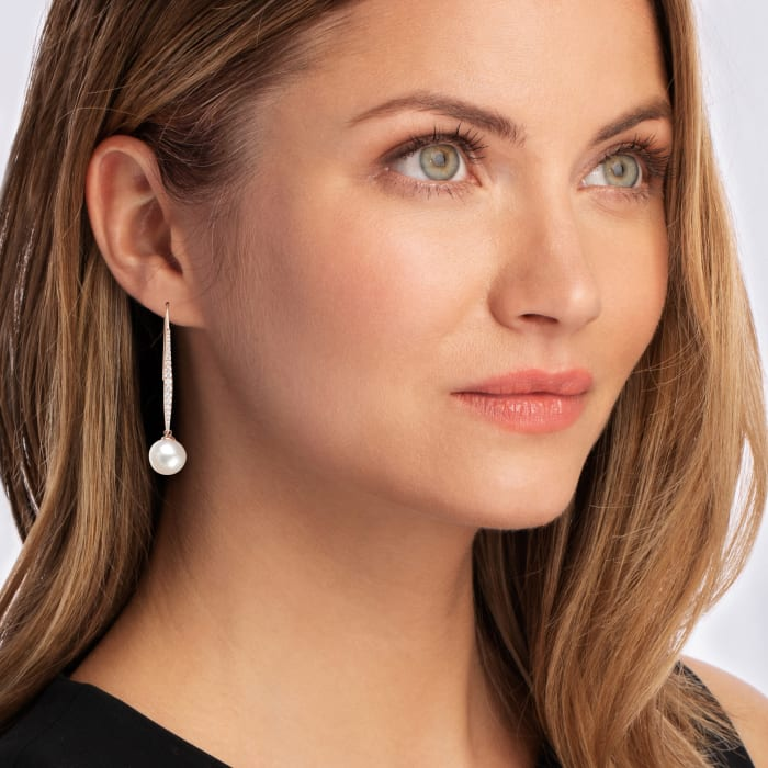 10-11mm Cultured South Sea Pearl and .57 ct. t.w. Diamond Drop Earrings in 18kt Rose Gold