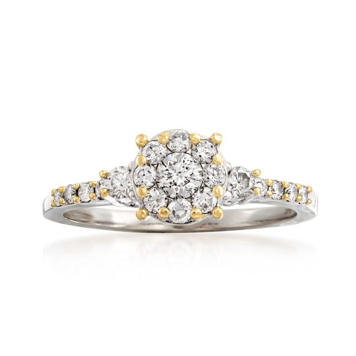 C. 2000 Vintage .50 ct. t.w. Diamond Cluster Ring in 14kt White Gold