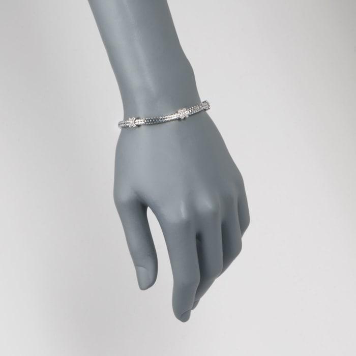 "Phillip Gavriel ""Woven"" .20 ct. t.w. White Sapphire Small X Station Link Bracelet in Sterling Silver"