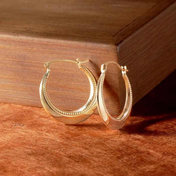 14kt Yellow Gold Beaded and Polished Hoop Earrings