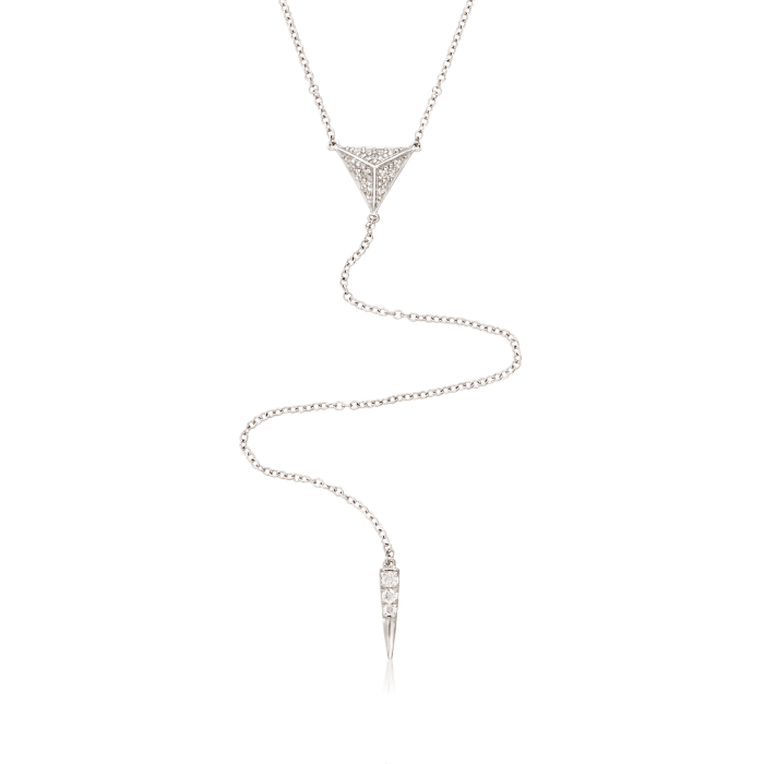 Gabriel Designs .14 ct. t.w. Diamond Y Necklace in 14kt White Gold