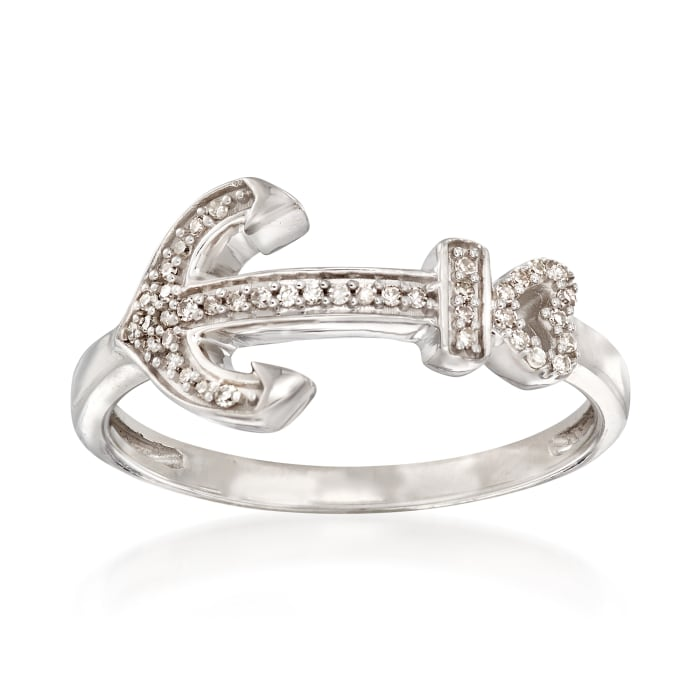 Sterling Silver Anchor Ring with Diamond Accents