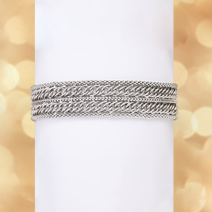 Italian Sterling Silver Popcorn Chain and Curb-Link Bracelet