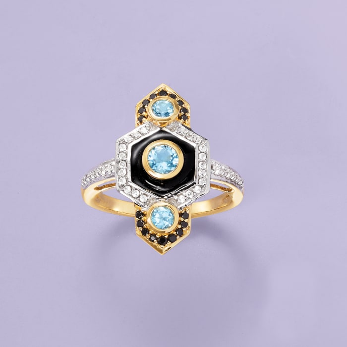 .90 ct. t.w. Multi-Gemstone Vintage-Style Ring with Black Enamel in 14kt Yellow Gold