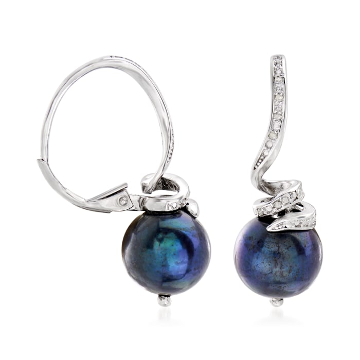 10-11mm Black Cultured Pearl and .10 ct. t.w. Diamond Drop Earrings in Sterling Silver