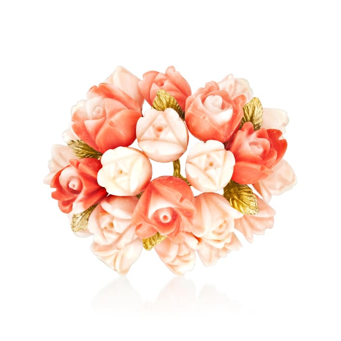C. 1960 Vintage Peach Coral Flower Bouquet Pin in 14kt Yellow Gold