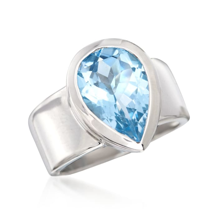 5.75 Carat Blue Topaz Ring in Sterling Silver