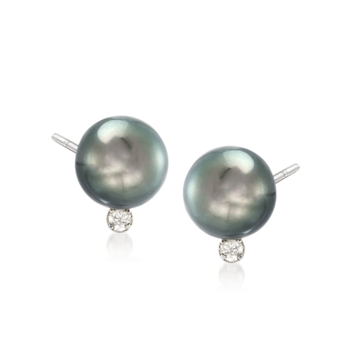 9-10mm Black Cultured Tahitian Pearl Earrings with .10 ct. t.w. Diamonds in 14kt White Gold