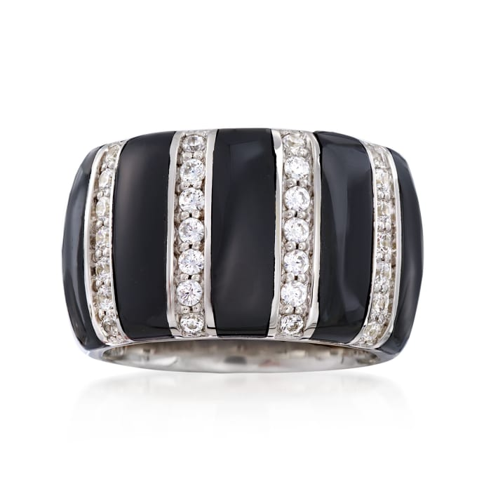 "Belle Etoile ""Regal"" Black Onyx and .70 ct. t.w. CZ Ring in Sterling Silver"