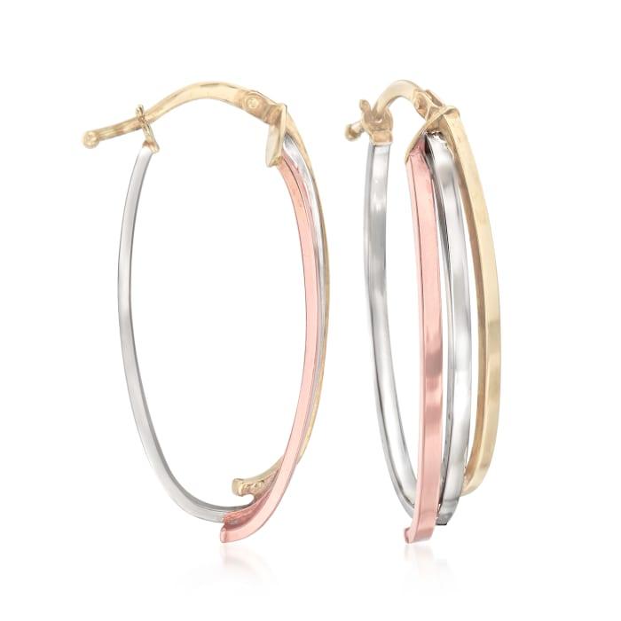 Italian 14kt Tri-Colored Gold Oval Hoop Earrings