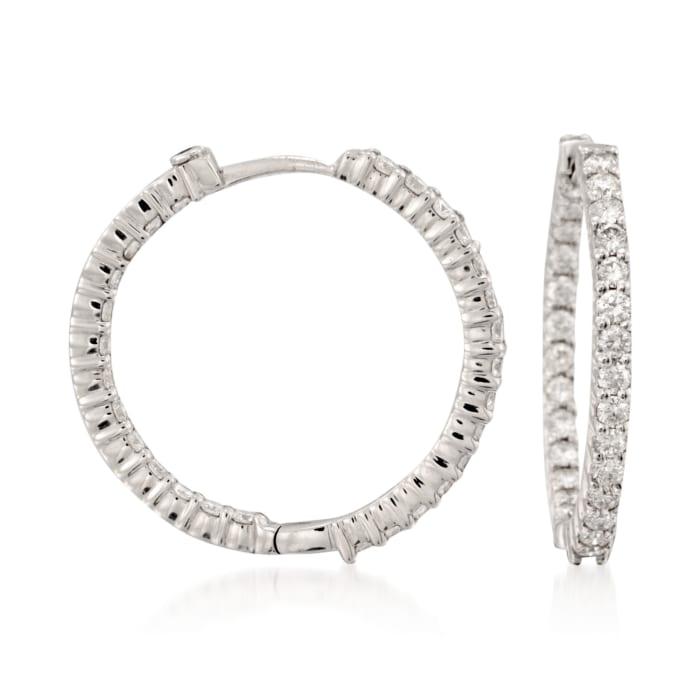 Roberto Coin 1.55 ct. t.w. Diamond Inside-Outside Hoop Earrings in 18kt White Gold