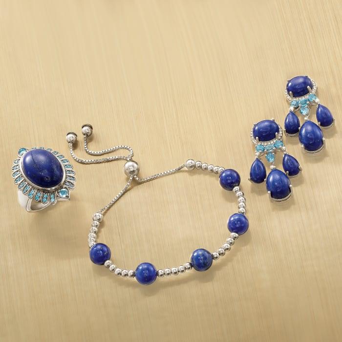 7.5-8mm Lapis Bead Bolo Bracelet in Sterling Silver