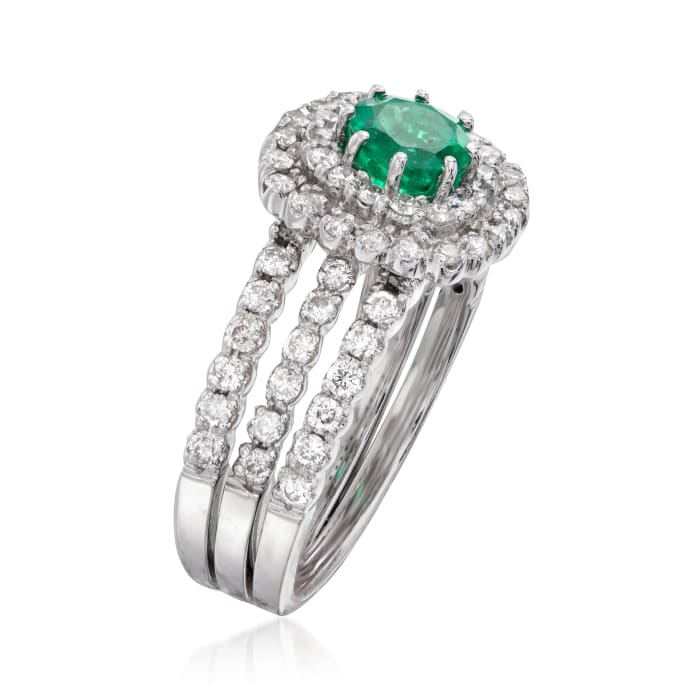 .81 ct. t.w. Diamond and .65 Carat Emerald Ring in 14kt White Gold