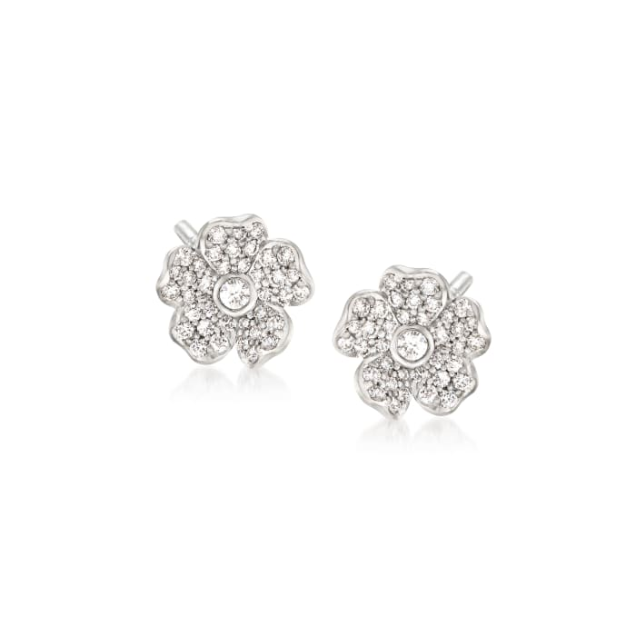 """Mikimoto """"Cherry Blossom"""" .36 ct. t.w. Diamond Floral Earrings in 18kt White Gold"""