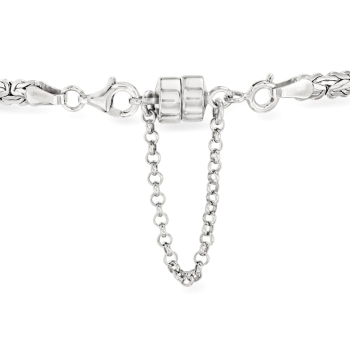 Italian Sterling Silver Magnetic Clasp Converter with Safety Chain