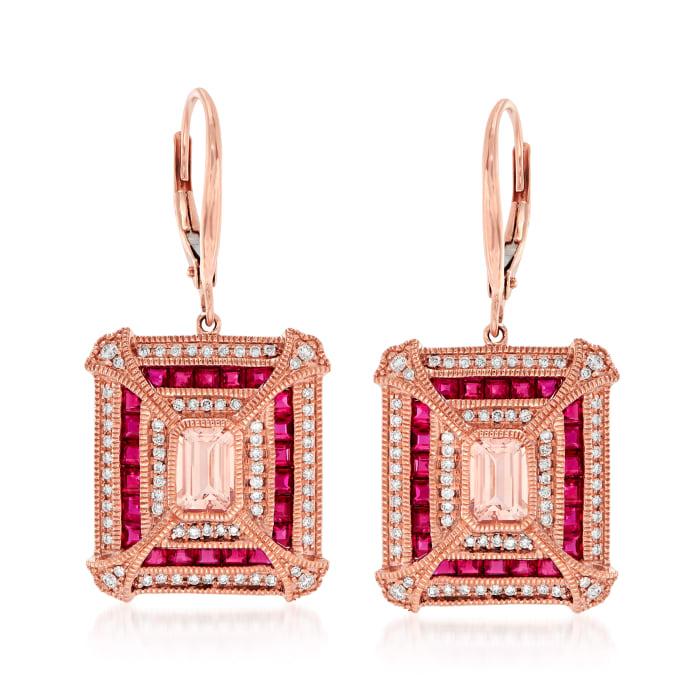 3.60 ct. t.w. Multi-Gemstone and .48 ct. t.w. Diamond Drop Earrings in 14kt Rose Gold