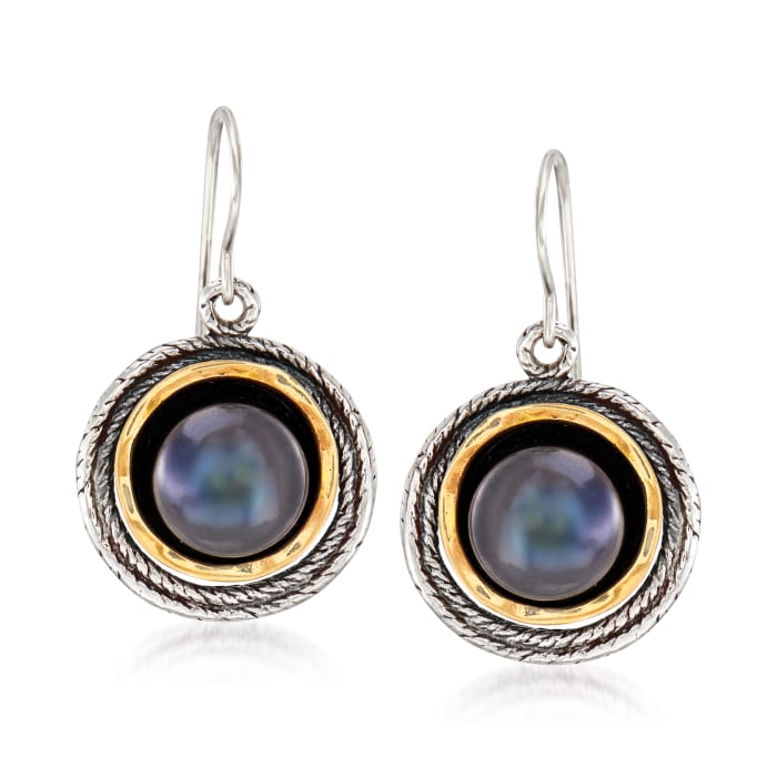 9.5-10mm Black Cultured Pearl Drop Earrings in Sterling Silver and 14kt Yellow Gold