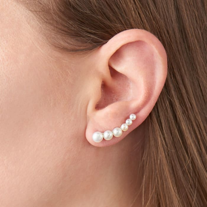 3-6mm Cultured Pearl Ear Climbers in Sterling Silver