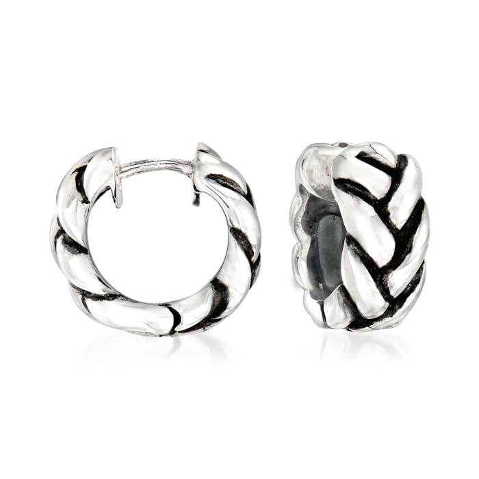 Zina Sterling Silver Braid Huggie Hoop Earrings