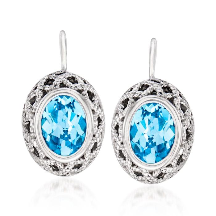 """Andrea Candela """"Rioja"""" 3.30 ct. t.w. Blue Topaz Drop Earrings in Sterling Silver"""