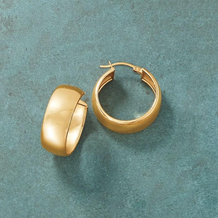 18kt Gold Over Sterling Wide Hoop Earrings