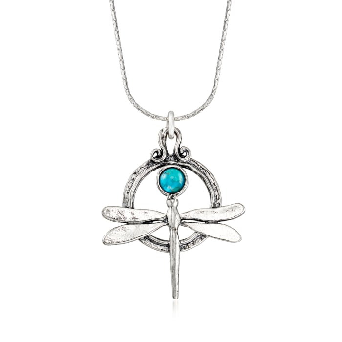 Turquoise Dragonfly Necklace in Sterling Silver