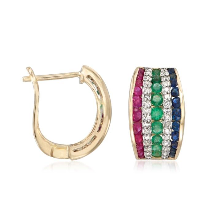 1.70 ct. t.w. Multi-Gemstone and .32 ct. t.w. Diamond Hoop Earrings in 14kt Yellow Gold