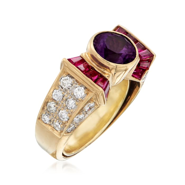 C. 1990 Vintage 1.10 Carat Synthetic Purple Sapphire and .70 ct. t.w. Diamond Ring with .65 ct. t.w. Rubies in 18kt Gold