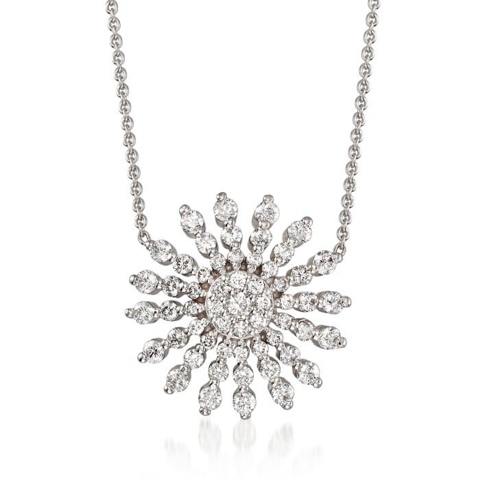 Roberto Coin .70 ct. t.w. Diamond Sunburst Necklace in 18kt White Gold