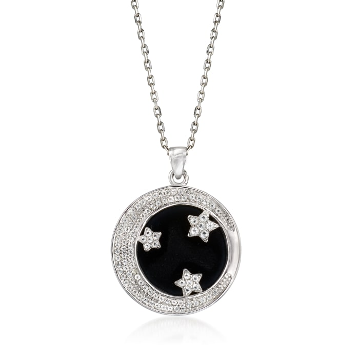 Black Onyx and 7.00 ct. t.w. White Topaz Star and Moon Pendant Necklace in Sterling Silver