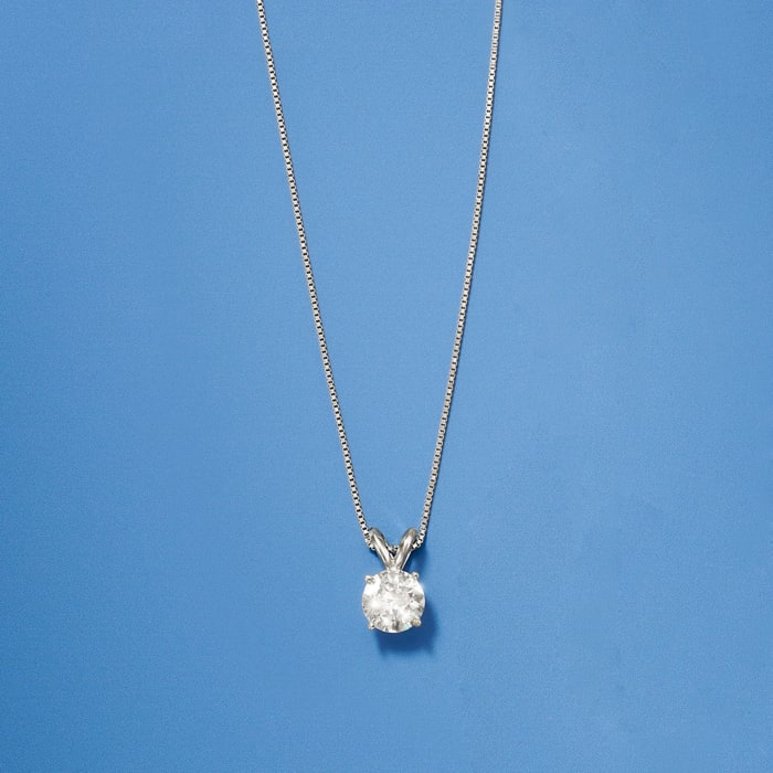 1.00 Carat Diamond Solitaire Necklace in 14kt White Gold