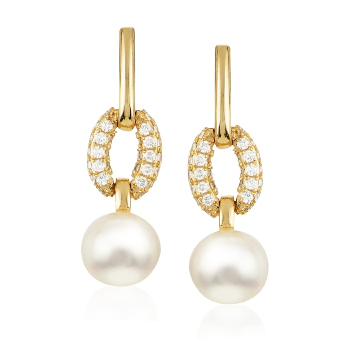8-8.5mm Cultured Akoya Pearl and .80 ct. t.w. Diamond Drop Earrings in 14kt Yellow Gold