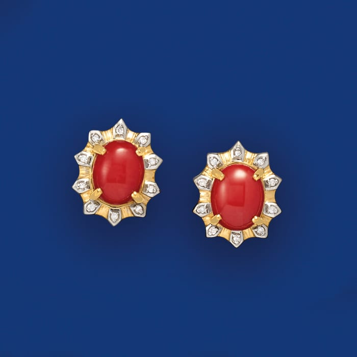Red Coral and .20 ct. t.w. Diamond Earrings in 18kt Yellow Gold