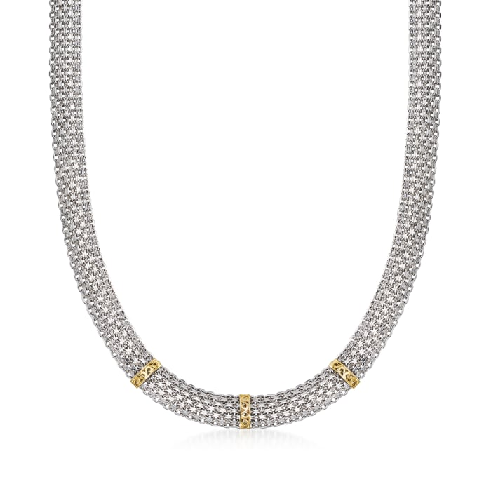 Sterling Silver Bismark-Link Necklace with 14kt Yellow Gold
