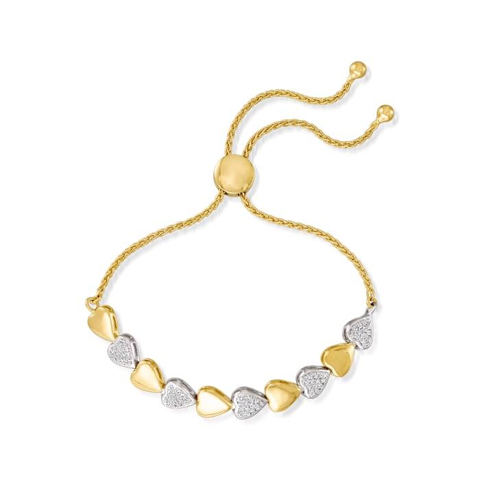 .50 ct. t.w. Diamond Heart Bolo Bracelet in Two-Tone Sterling Silver