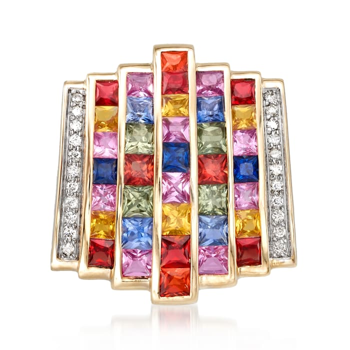 6.00 ct. t.w. Multicolored Sapphire and .17 ct. t.w. Diamond Multi-Row Pendant in 14kt Yellow Gold